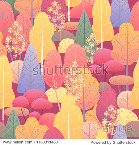 Seamless pattern with colorful autumn forest trees and bushes on red background. Endless texture with simple elements of plants.  Fall foliage vector flat illustration.