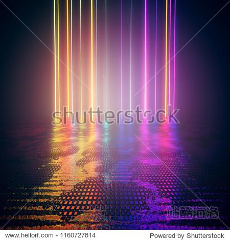 design element. 3d rendering. abstract  background. laser beams  neon glowing lines rainbow colored  dark scene