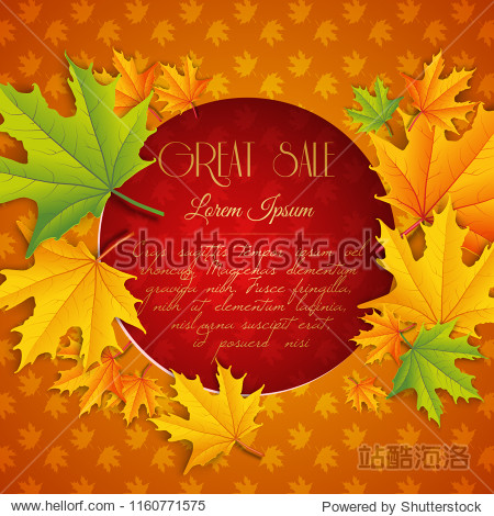 Autumn sale natural template with text in red circle colorful maple leaves and foliage background vector illustration