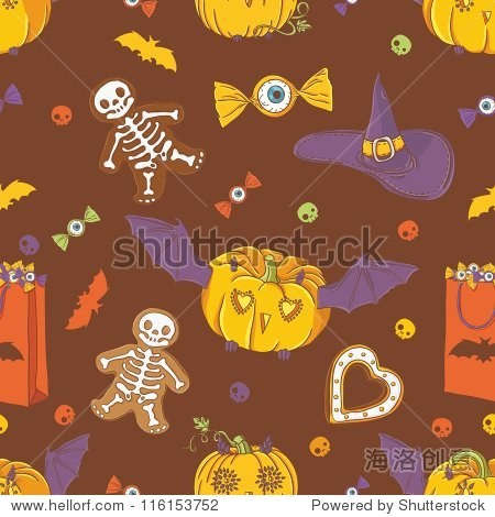 Halloween background with pumpkins  cookies  hat  bat and candy