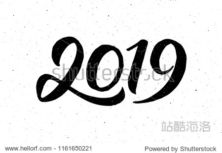 Greeting card design template with chinese calligraphy for 2019 New Year of the Pig. Black number 2019 hand drawn lettering on white vintage subtle grunge background. Vector illustration