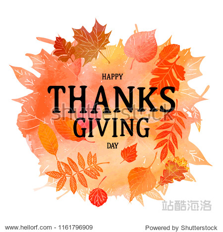 Thanksgiving background. Autumn leaf foliage watercolor. Web banner or poster for e-commerce  on-line cosmetics shop  fashion and beauty shop  store. Watercolor texture. Vector illustration. EPS 10
