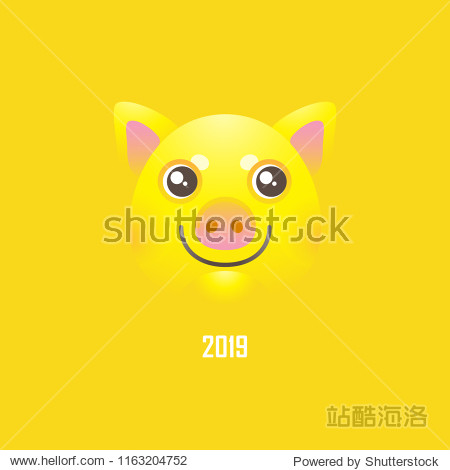 Vector banner with a illustration of kawaii porky  symbol of 2019 on the Chinese calendar on yellow backdrop. Yellow Earthy Pig. Element for New Year's design. For advertising  greetings  discou