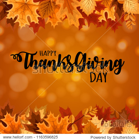 Abstract Vector Illustration Happy Thanksgiving Day Background with Falling Autumn Leaves. EPS10