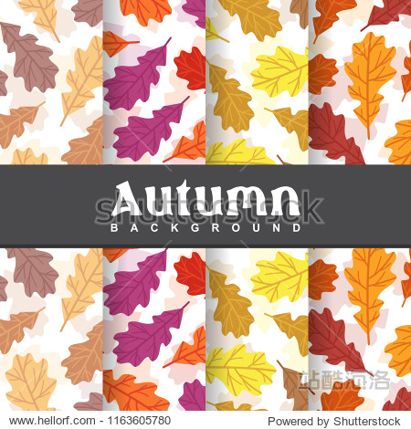 a set background of autumn fall exotic palm leaf seamless pattern wallpaper illustration collection