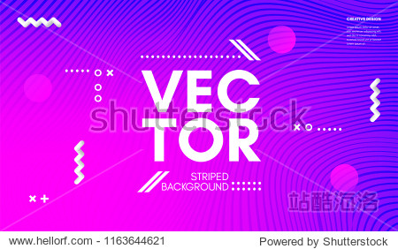 Abstract Wave Lines. Geometric Template with Distortion of Stripes. Flow Gradient Abstract Background in Minimal Style. Eps10 Vector. Abstract Cover with Movement Effect for Poster  Business Design.