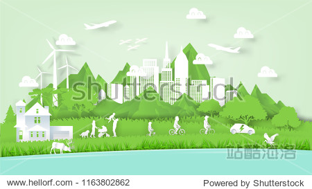 Illustration vector of modern eco world environment and happiness family people  graphic design of ecology modern world in paper art style