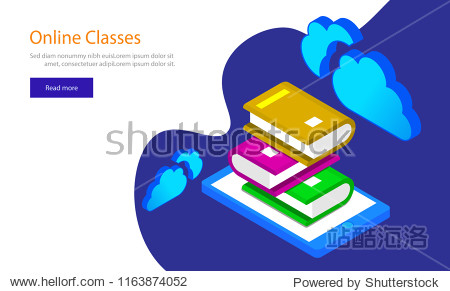 Isometric illustration of books stack on smartphone screen for E-Library concept. Responsive web template design for Online Classes.