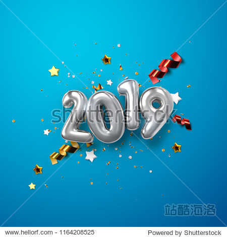 Realistic 2019 silver numbers and festive confetti  stars and streamer ribbons on blue background. Vector holiday illustration. Happy New 2019 Year. New year ornament. Decoration element with tinsel