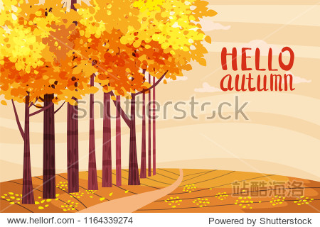 Hello autumn  Autumn alley  path in the park  fall  autumn leaves  lettering  mood  color  vector  illustration  cartoon style  isolated