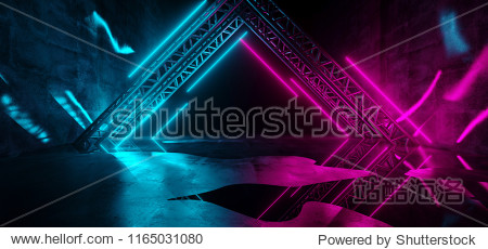 Modern Futuristic Sci-Fi Purple Blue Neon Lights On Abstract Construction Empty Dark Stage With Concrete Reflection Floor With Water On It Rain 3D Rendering Illustration