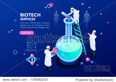 Health and biochemistry laboratory of nanotechnology. Molecule helix of dna  genome or gene evolution. Vector blue science genome clone sequence concept with characters. Flat isometric illustration.