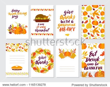Vector Thanksgiving day invitation and greeting card  flyer  banner  poster templates. Hand drawn symbols  cute design elements  and handwritten lettering. Thanksgiving day vector collection.