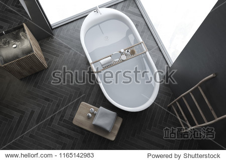 Top view of modern gray wall bathroom interior with black wooden floor  loft windows  ladder  sink and bathtub. Spa  hotel and luxury real estate. 3d rendering mock up