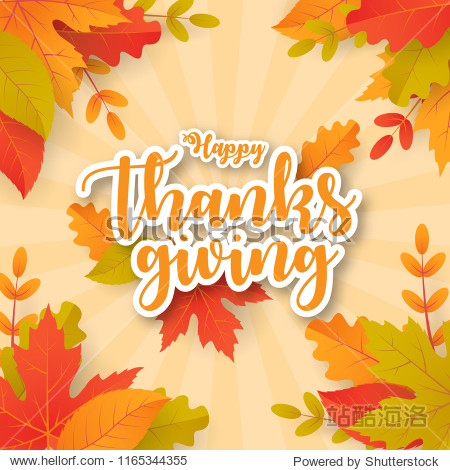 Happy thanksgiving background with leaves. Can be used for poster  banner  flyer  invitation  website or greeting card. Vector illustration