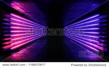3d render. Geometric figure in neon light against a dark tunnel. Laser line glow.