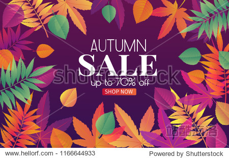 Trendy fall sale poster with gradient bright autumn foliage of maple  oak  elm and chestnut.