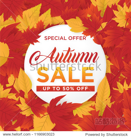 autmn sale background template with maple leaves concept use for print and ecommerce web banner