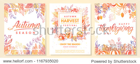 Autumn seasonals postes with autumn leaves and floral elements in fall colors.Autumn greetings cards perfect for prints flyers banners invitations promotions and more.Vector autumn illustration.