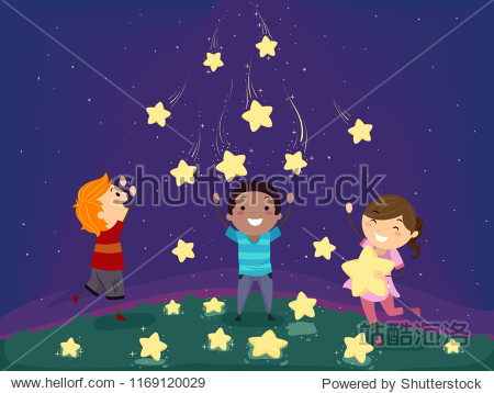 Fantasy Illustration of Stickman Kids Playing with Falling or Shooting Stars