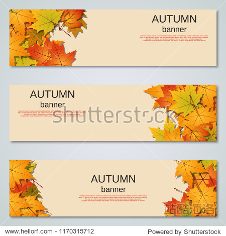 Autumn colorful leaves horizontal vector banners collection