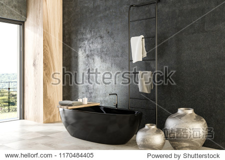 Concrete and wood wall bathroom interior with tiled floor  panoramic window  black bathtub  and vases. 3d rendering mock up