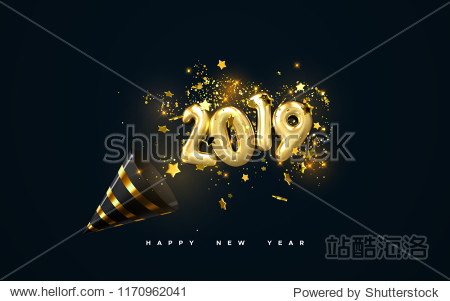 Golden 2019 numbers  party popper cone and glittering confetti isolated on black. Vector festive illustration. Holiday decoration with sparkling tinsel particles. Happy New Year