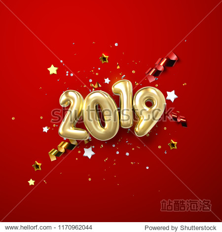 Realistic 2019 golden numbers and festive confetti  stars and spiral ribbons on red background. Vector holiday illustration. Happy New 2019 Year. New year ornament. Decoration element with tinsel