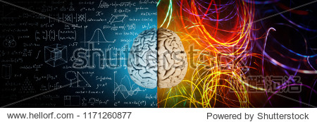 The concept of the human brain. The right creative hemisphere versus the left logical hemisphere. Education  science and medical abstract background.