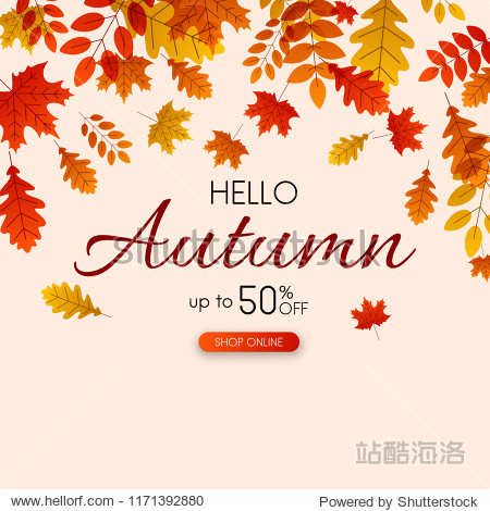 Autumn up to 50% off sale. Promotion poster with golden leaves. Shop online. Vector background.