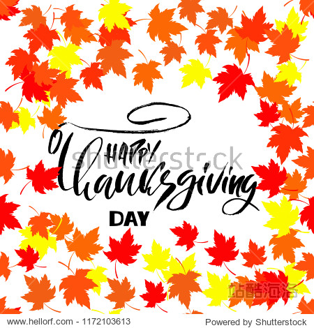 Handwritten Thanksgiving lettering day. Happy Thanksgiving card template. Typography banner. Calligraphy poster. Vector illustration.