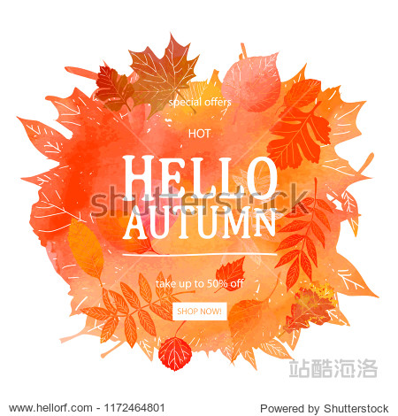 Autumn leaves. Watercolor texture. Fall leaf. Sale lettering design. Raster copy