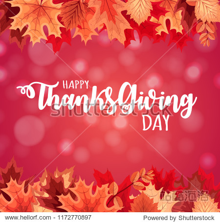 Abstract  Illustration Happy Thanksgiving Day Background with Falling Autumn Leaves.