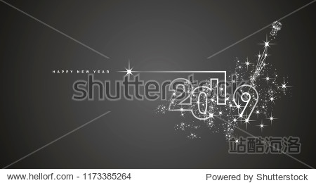 New Year 2019 line design firework champagne white black vector