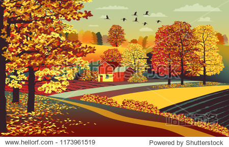 Indian summer. Rural autumn landscape with farm  fields and trees in the background. Handmade drawing vector illustration. Flat design.