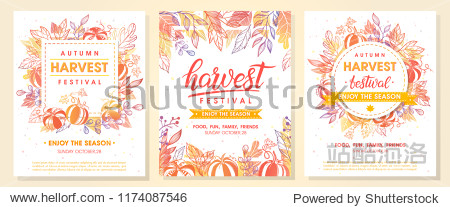 Autumn harvest festival postes with autumn leaves and floral elements in fall colors.Harvest fest design perfect for prints flyers banners invitations promotions and more.Vector autumn illustration.