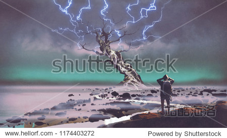 hiker looking at lightning above the giant tree  digital art style  illustration painting