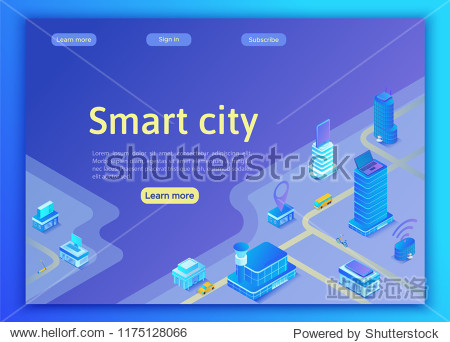 Smart city isometric city concept  online transportation service  mobile app landing page template with intelligent buildings  smartphone  tablet  laptop  3d vector illustration