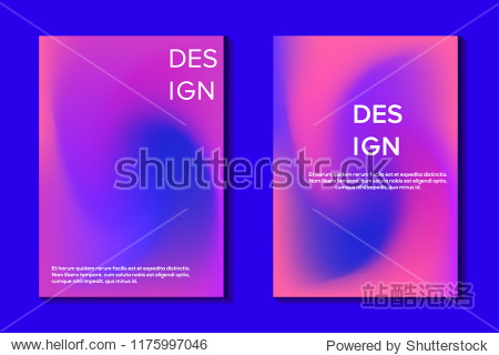 Set of colorful and blurred gradient template. Trendy gologram design background. Blue and pink templates for placards  covers design  banners  flyers  party poster  presentations. Eps10 vector