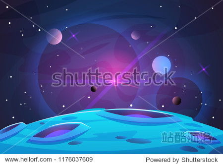 Space and planet background. Planets surface with craters  stars and comets in dark space. Vector illustration. Space sky with planet and satellite