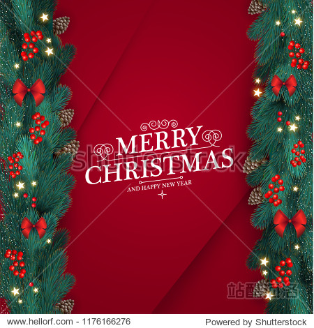 Merry Christmas Design Template with Realistic Fir Tree Branches  Cones  Bows  Shining Stars and Red Berries. Vector illustration