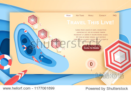 Vector web site paper art design template. Tropical beach. Summer holiday concept. Landing page illustration for website and mobile development. Paper cut origami style.