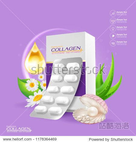 Supplements or Collagen and Vitamins Extraction Background for Beauty Products.