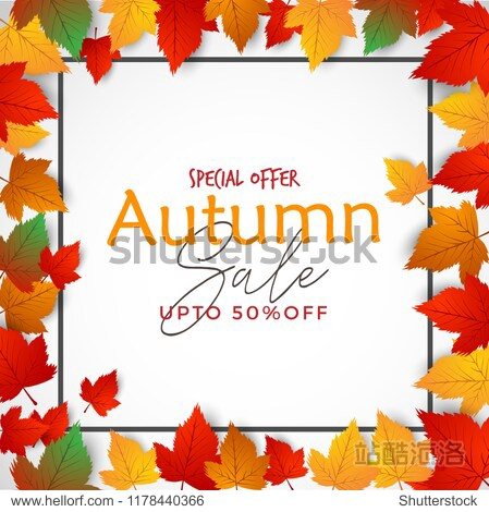 Autumn Vector Sale Background Decorated with leaves for Sale Banner  Flyer  Post  Poster  Leaflet  Brochure.
