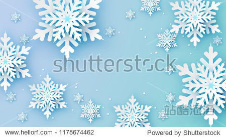 Snowflakes design for winter with place text space. Abstract Paper Craft Snowflakes background. greeting card for winter. paper art design. vector  illustration.