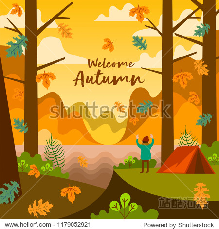 Man People Camping In Autumn Fall Season In The Forest