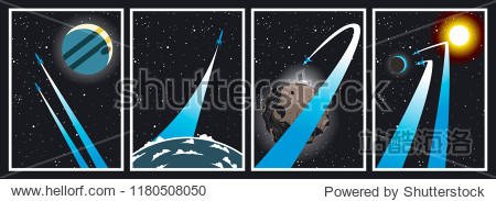Vector Set of Space Posters  Planet  Sun  Earth  Asteroid and Spaceships