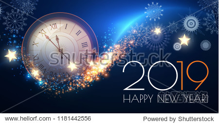 Happy Hew 2019 Year! Clock  Fileworks  Lights and Bokeh Effect. Vector illustration