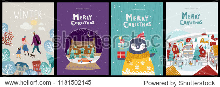 Christmas cute cards or posters  congratulations on a new year or christmas  vector illustration of winter objects and elements