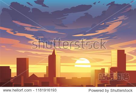 Evening city panorama  vector  sunset. Flat anime style